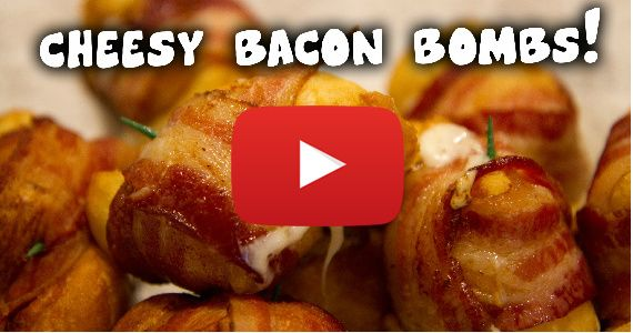 These Cheesy Bacon Bombs Are Dangerously Delicious ~ Video Tutorial ~ Pillsbury Grands Flaky Layer Biscuits ( Honey Butter ) slice each biscuit in half = 16 pieces, a block of Mozzarella Cheese ( 16 - 1 inch cubes ) thick cut Bacon ( 16 slices ), long Toothpicks, Canola Oil for frying in a pan or deep fryer