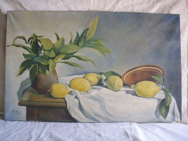 Still life by A. Reig, from the last Fifties-Sixties of the 20th century. Oil on canvas, with some restorations, with stretcher. Frame is lacking. Measurements: 77x48 cm.