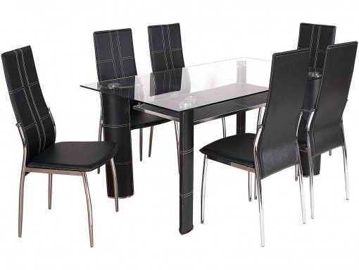 Kentucky Black Glass Dining Table Set