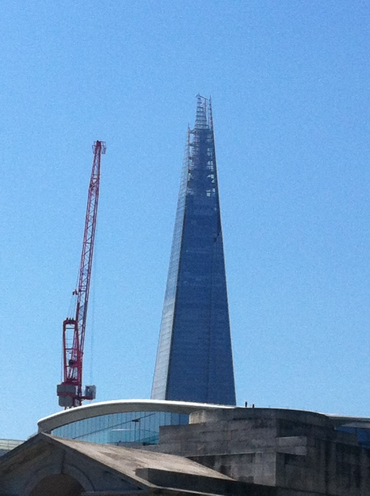 The Shard near completion days before London 2012 on a blue sky day