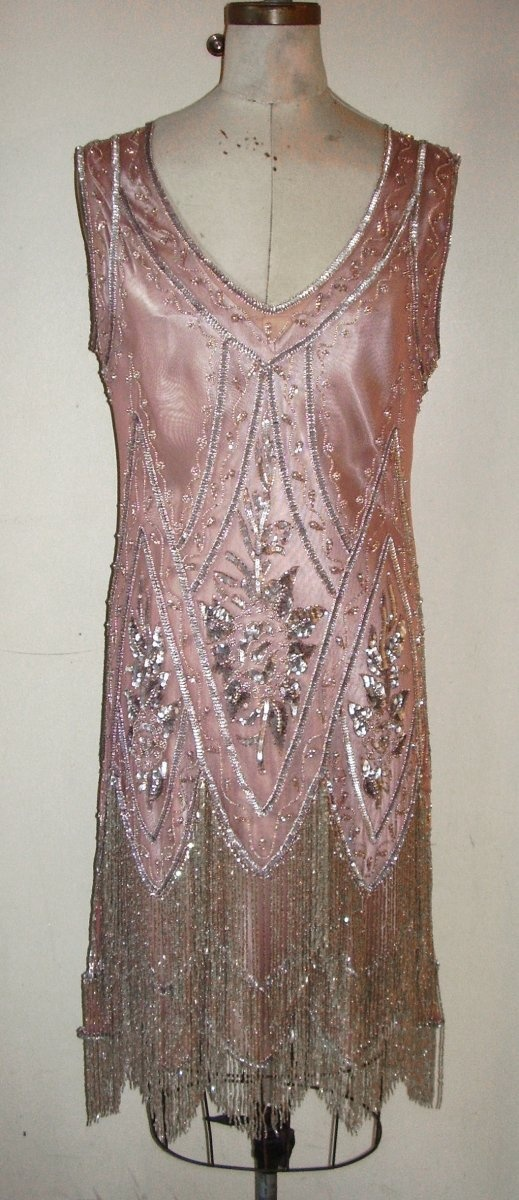The Charleston Pink and Silver The Charleston beaded 1920s dress twenties dress flapper dress wedding dress reproduction dress flapper costume leluxe [] - $399.99 : Beaded 1920's Style Gowns, Art Deco Gowns, 20's Flapper Fringe Dresses, Vintage Daywear, Hollywood Reproductions..... from LeLuxe Clothing