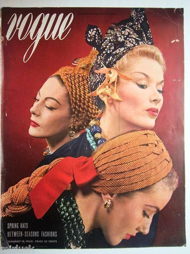 1940 Vogue Fashion Magazine Cover Art Only Womens Vintage HATS