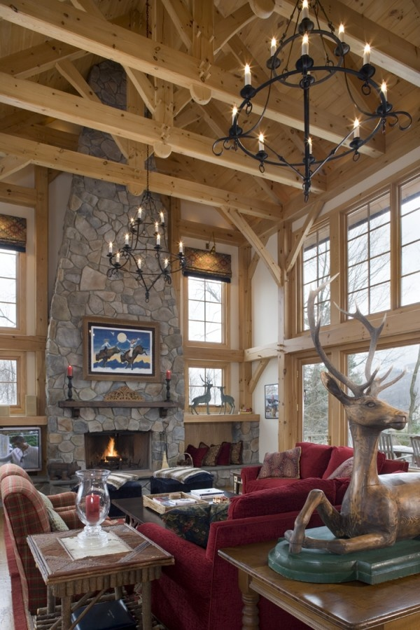 Great room photo in Eastern White Pine Woodhouse timber frame home