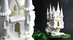 Sugar Fairytale Castle Topper Tutorial at Yeners Way.  Learn how to make this beautiful fairytale castle out of Pastillage (Sugar).