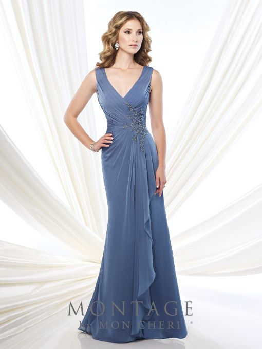 Montage 215907 Beaded Surplus Chiffon Gown