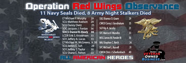 Today we observe #OperationRedWings and show these heroes who made the ultimate sacrifice for our country and each other 12 years ago that they are #NeverForgotten! Read a history of Operation Red Wings and take a few to click on the link to visit each hero's memorial page to read a short bio on each brave American who was killed in action that day!