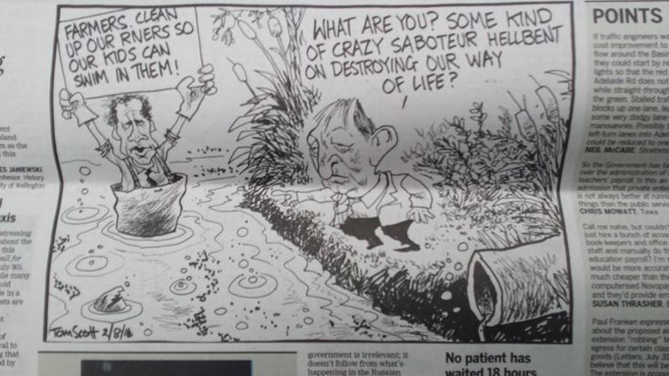 Russel Norman and Conservation Minister Nick Smith as depicted by Tom Scott in The Dominion Post yesterday.