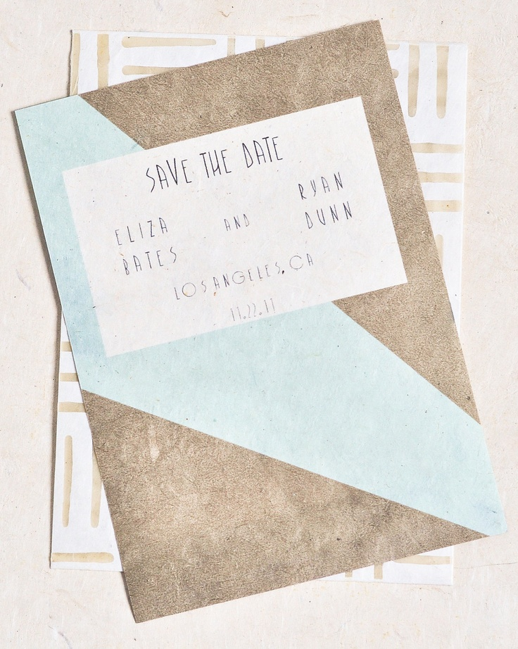 Vintage Wedding Save The Date Cards with Bold Geometric Pattern by anonymouseprints