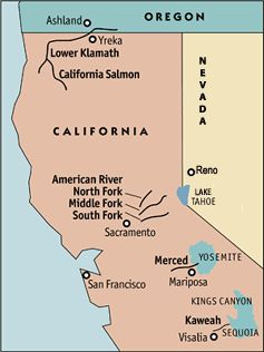 California Whitewater Rafting Rivers Regional Map | Places to see ...