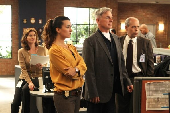Devil's Trifecta - Season 10, #9.  Gibbs (Mark Harmon, right - center) teams up with FBI Agent Fornell (Joe Spano, right) on a joint NCIS/FBI investigation after Fornell becomes the target of a shooting, but they face an unexpected twist in the case when their mutual ex-wife, Diane Sterling, (Melinda McGraw, left) gets involved. Also pictured: Cote de Pablo Photo: Monty Brinton/CBS ©2012 CBS Broadcasting, Inc. All Rights Reserved.