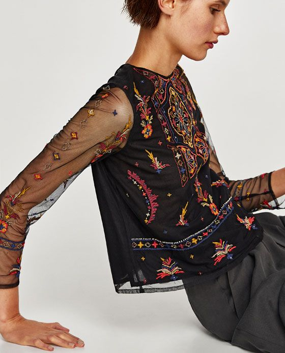 Image 1 of EMBROIDERED TULLE TOP from Zara