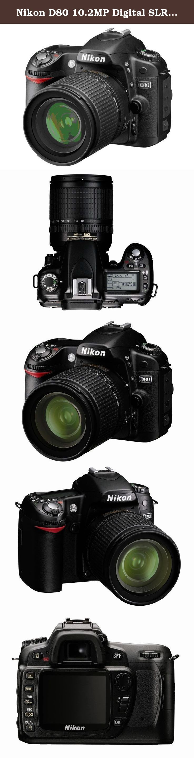 Nikon D80 10.2MP Digital SLR Camera Kit with 18-135mm AF-S DX Zoom-Nikkor Lens. The D80 packs high performance and high resolution into a body that is more compact and slimmer than previous Nikon digital SLR cameras. True to Nikon's commitment to intuitive operation, the size, layout and operation of all buttons and controls are designed for maximum ease of use, and the included 18-55mm ED II AF-S DX Zoom-Nikkor lens allows you to start shooting right away.