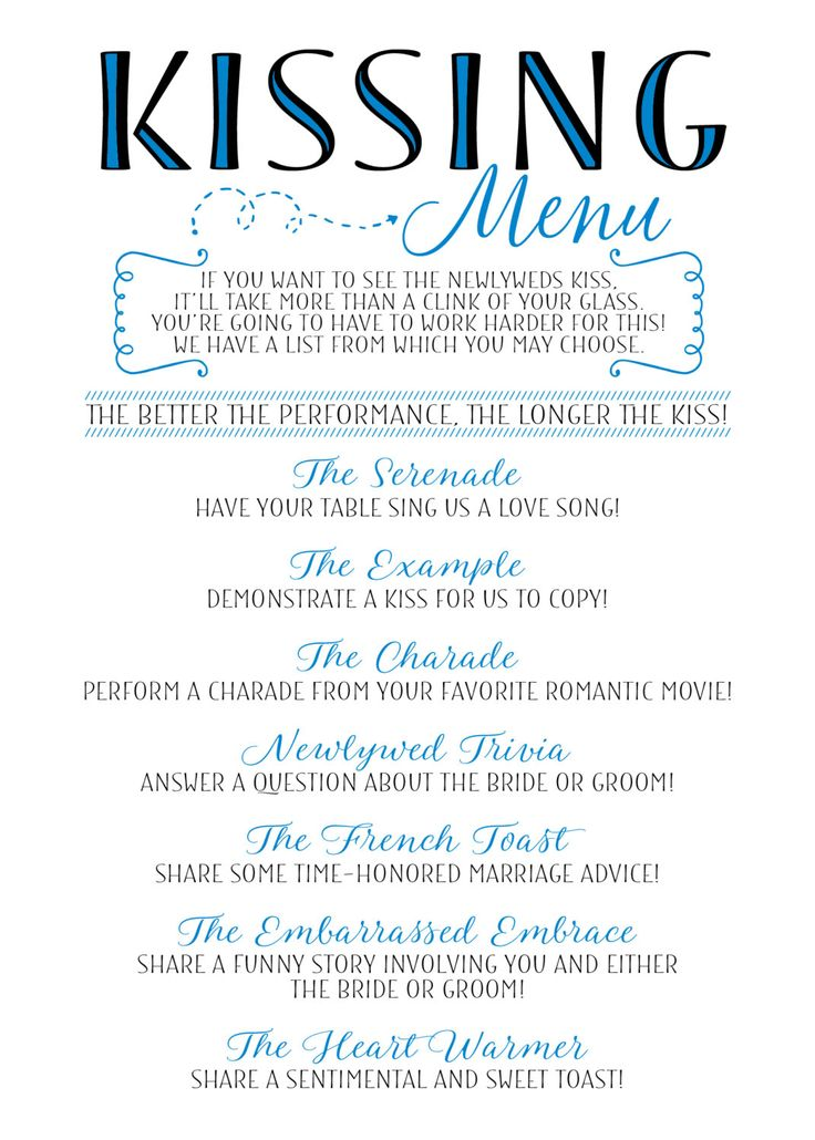 Congratulations on your upcoming wedding day! This printable Kissing Menu is such a fun way to get your guests involved at your wedding…