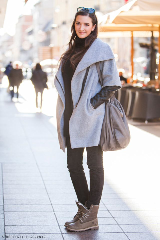 Light Gray Coat Jeans Boots Handbag Fall Outfit Street Style Women Fashion Clothing Women