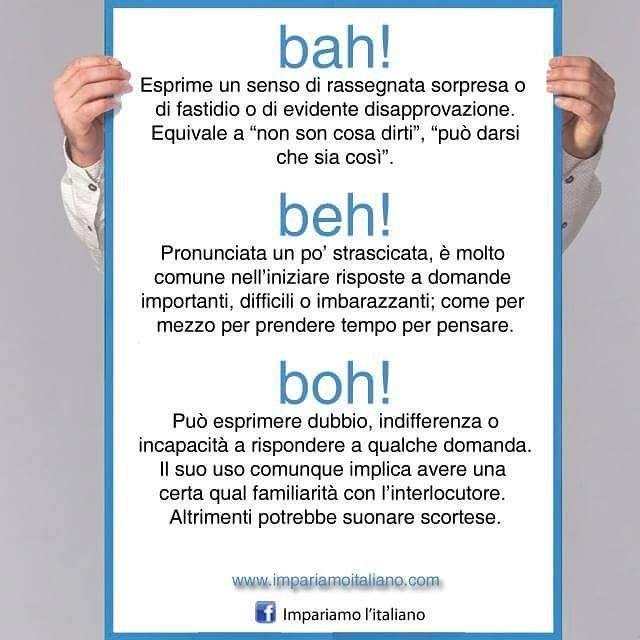 Le interiezioni bah, beh e boh. #learningitalian #learnitalian #imparareitaliano #impariamoitaliano