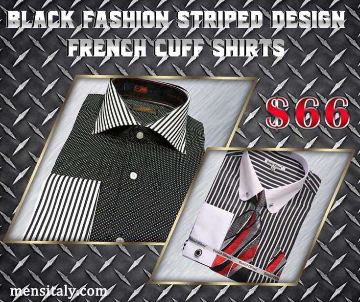 Black Fashion Striped Design French Cuff Shirts  #MensDressShirts #Neckties #FrenchCuffedShirts #TuxedoShirts #MensDressShirtsCheapOnline #ZootSuits #FormalWear #MensBusinessSuit #ShopNow #Mensitaly