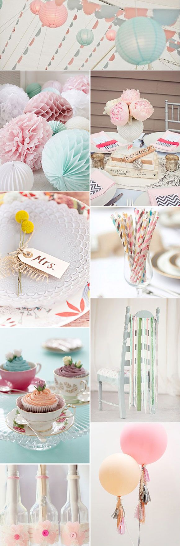 Pajitas de papel y complementos en colores pasteles para decorar bodas
