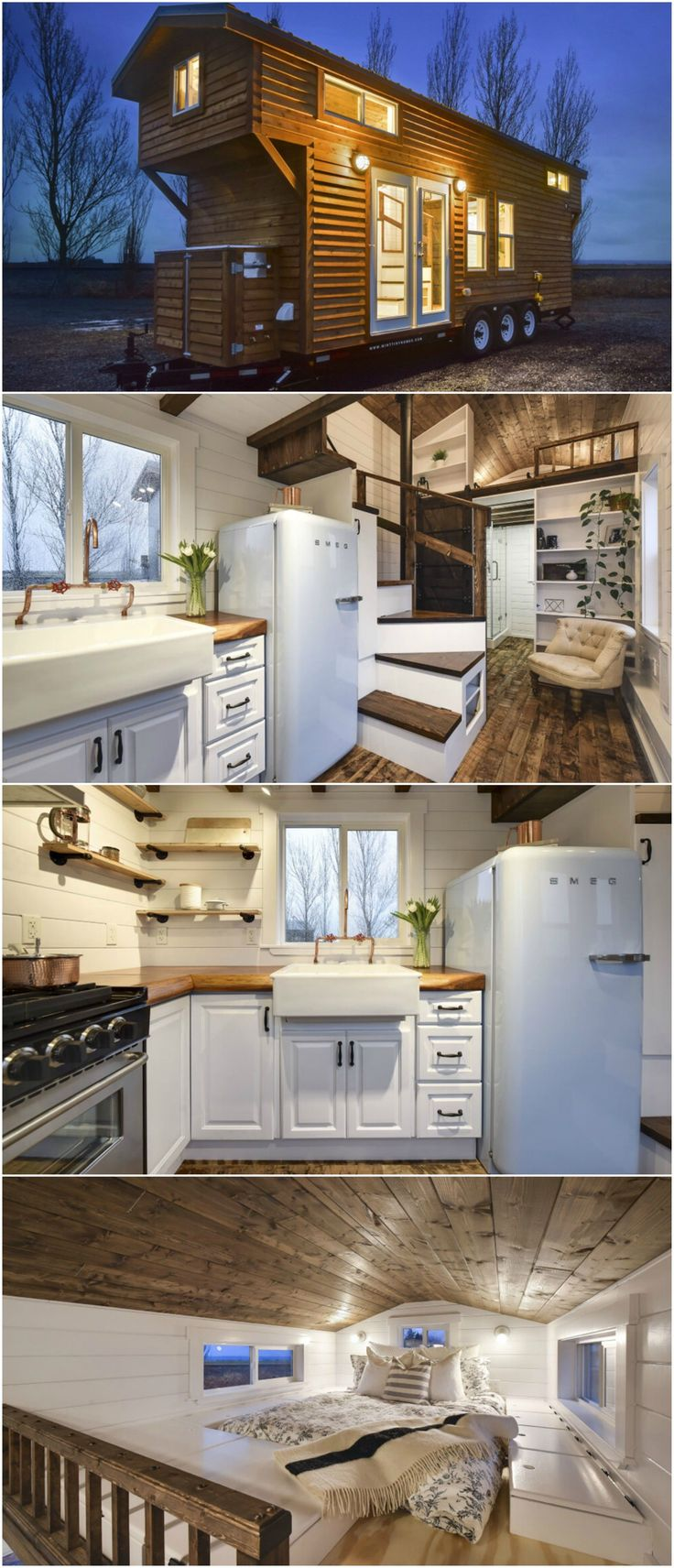 Custom Tiny #4 is a nice tiny house designed and built by Mint Tiny Homes with a rustic modern interior. The kitchen is outfitted with a retro style refrigerator, farmhouse sink with copper pipe faucet, butcher block counters, a freestanding range, and stackable washer and dryer. The exposed beam ceiling adds an extra touch of color.