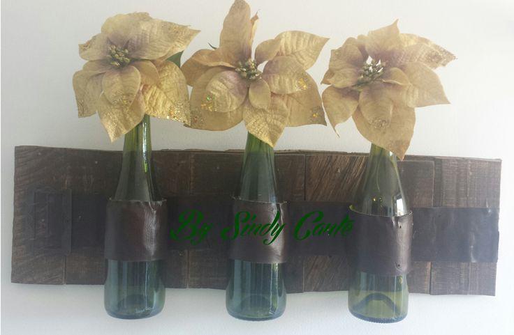 Objeto decorativo con Pallets y Botellas recicladas.
