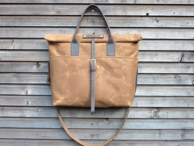 Waxed canvas bag carry all / messenger bag with by treesizeverse, $189.00
