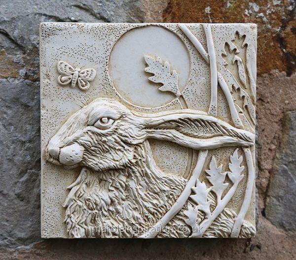 Jardin Mur Plaques: animaux Mur Plaques: Tile Hare mur (gauche) Garden Wall Plaque