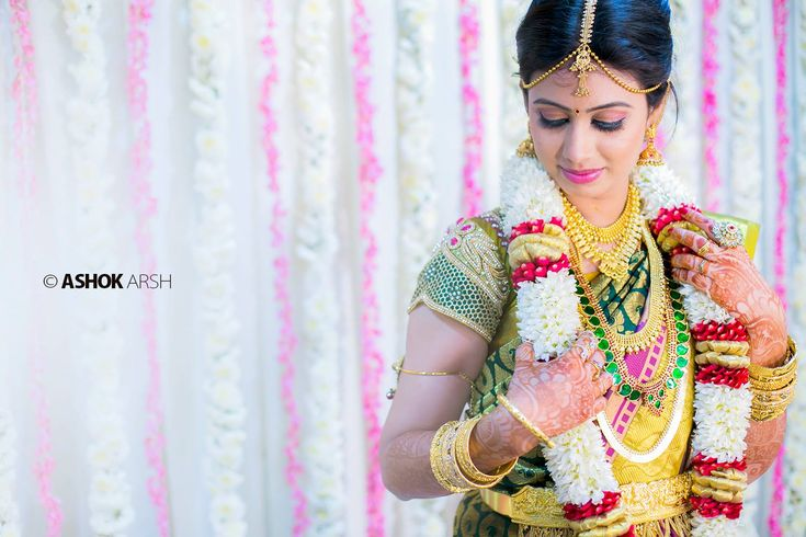 South Indian bride. Temple jewelry. Jhumkis.Green silk kanchipuram sari.Braid with fresh flowers. Tamil bride. Telugu bride. Kannada bride. Hindu bride. Malayalee bride