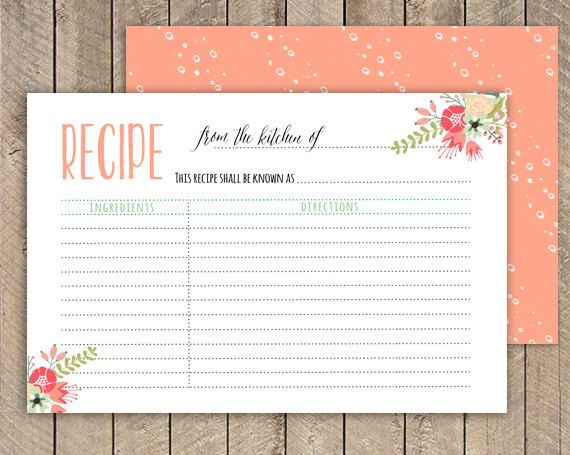 Bridal shower recipe card, Printable double Sided Recipe card, 4x6 inches is for instant download