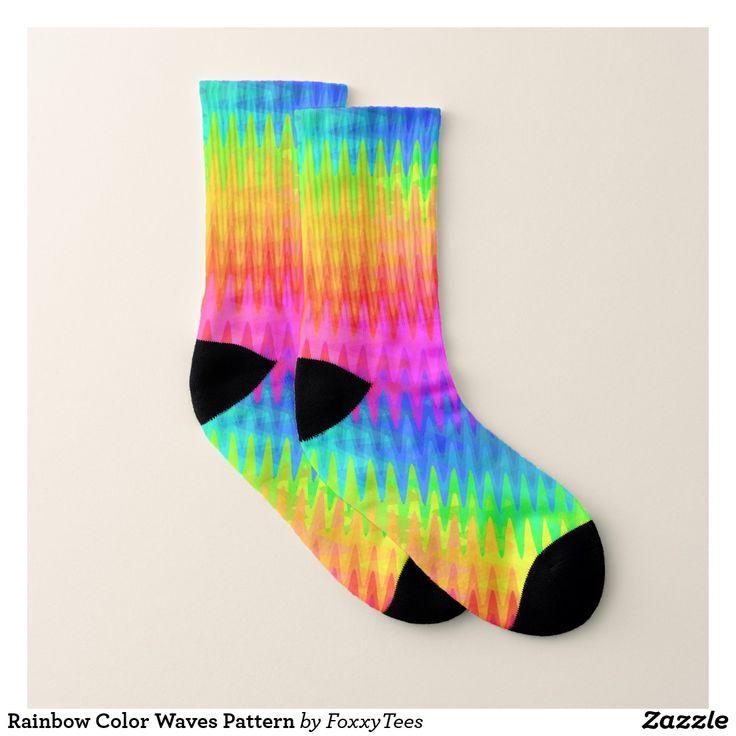 Rainbow Color Waves Pattern Socks