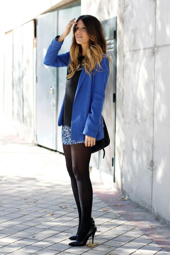 Cobalt Sequin Shorts Opaque Tights Date Night La