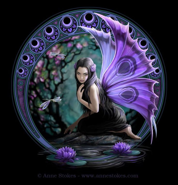 "Quoted ""This is a new design style artwork called Naiad. The border was inspired by the work of the wonderful Art Nouveau artist Mucha. In Greek mythology the Naiads were a type of nymph (female spirit) who presided over fountains, wells, springs, streams, brooks and other bodies of fresh water. I have combined this myth with a forest fairy and the resulting character is in the painting. I hope you like it."" - Anne Stokes -"