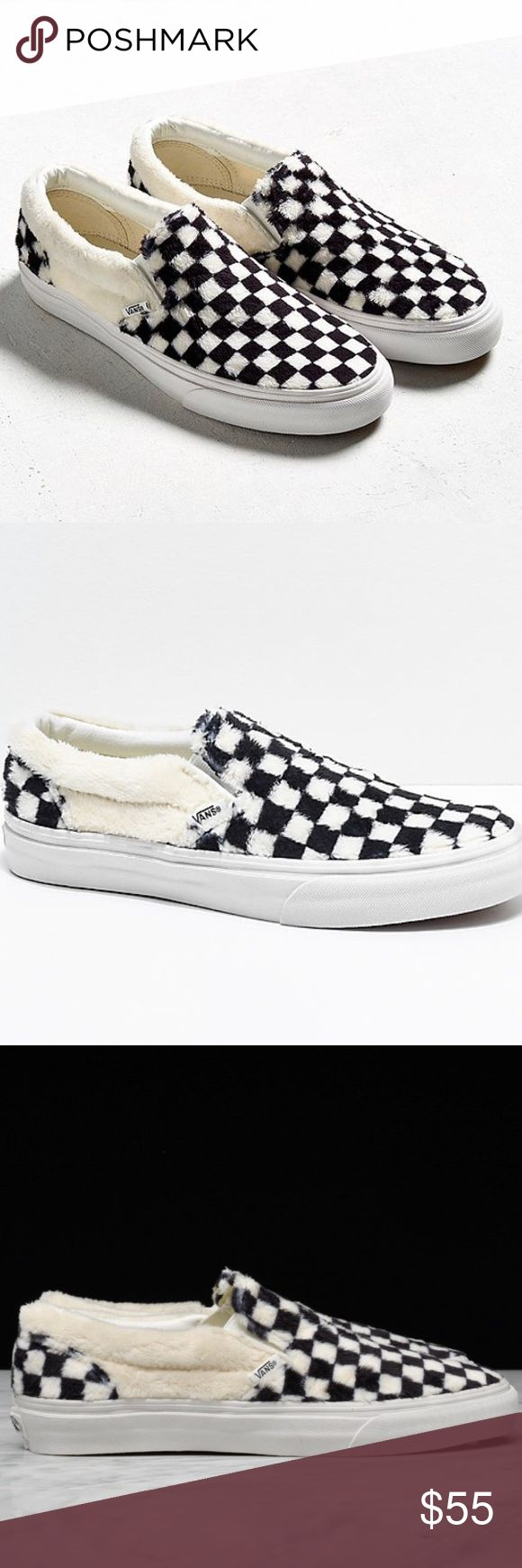 Slip on vans Checkerboard Slip On vans PRICE IS FIRM Fuzzy soft material on the top  Size 9.5 women's Brand new Super cute and unique If you don't like them you can exchange them at urban Outfitters or get a different size if they don't fit just say it was a gift. I purchased them at urban Outfitters but they didn't fit and don't have one near me Vans Shoes Sneakers