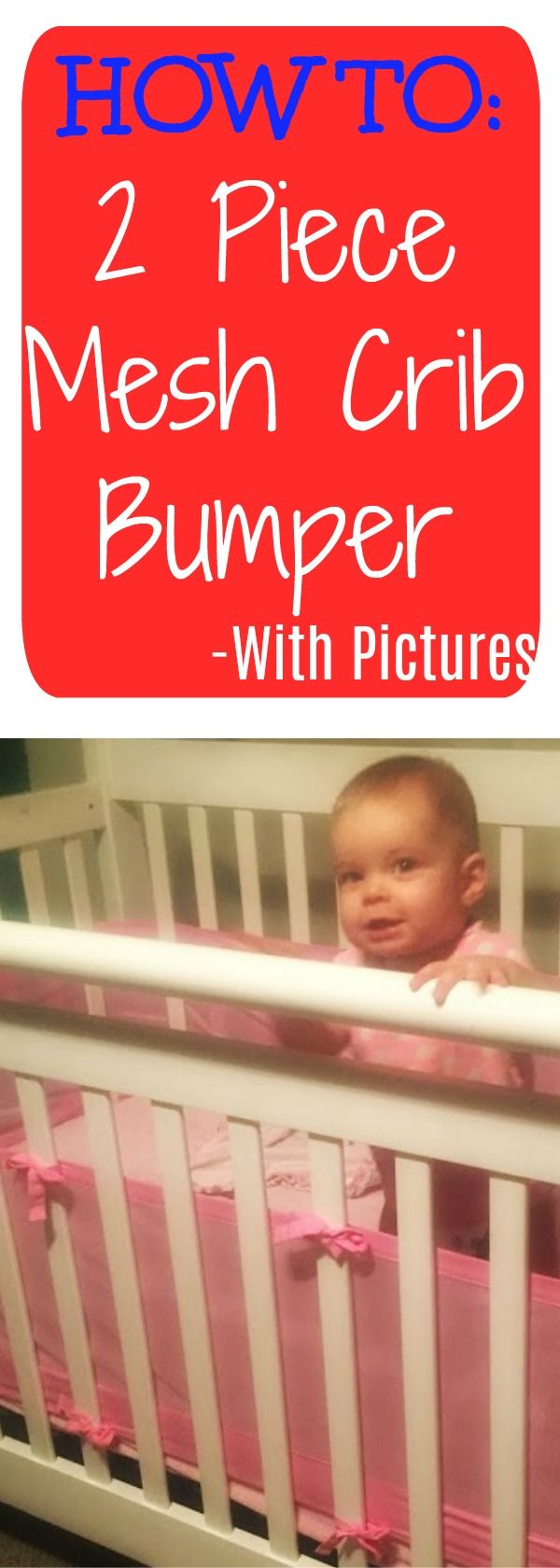 How to put on a mesh crib bumper with step by step guide with pictures. Reduce SIDS risk with a breathable mesh crib bumper!