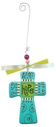 CROSS: HOPE. Colorful inspirations to brighten your day! Wooden crosses with hanging strings, beads & jewels: 83mm x 19mm x 118mm.