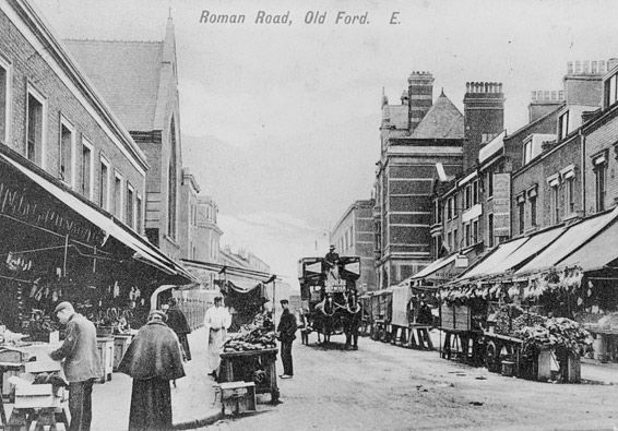 Roman Road, looking west, Bow Public Baths is on the right of the road, 19 ?