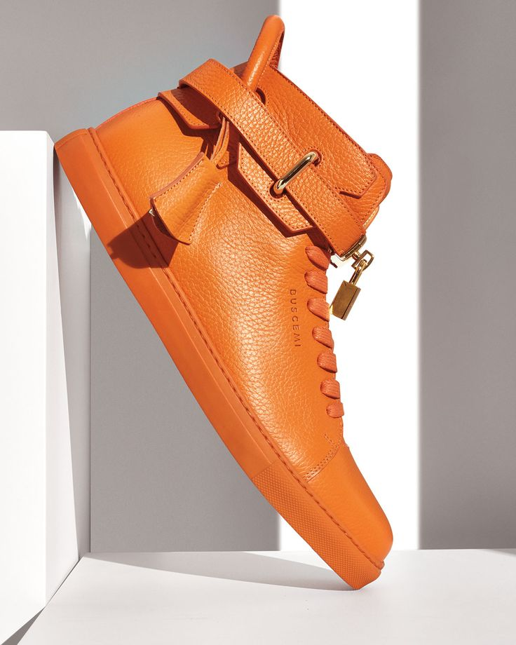 Buscemi 100mm High-Top Leather Sneaker, Orange
