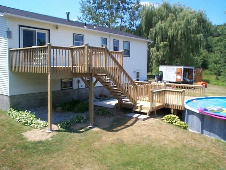 16 best decks images on pinterest country homes deck for Multi level deck above ground pool