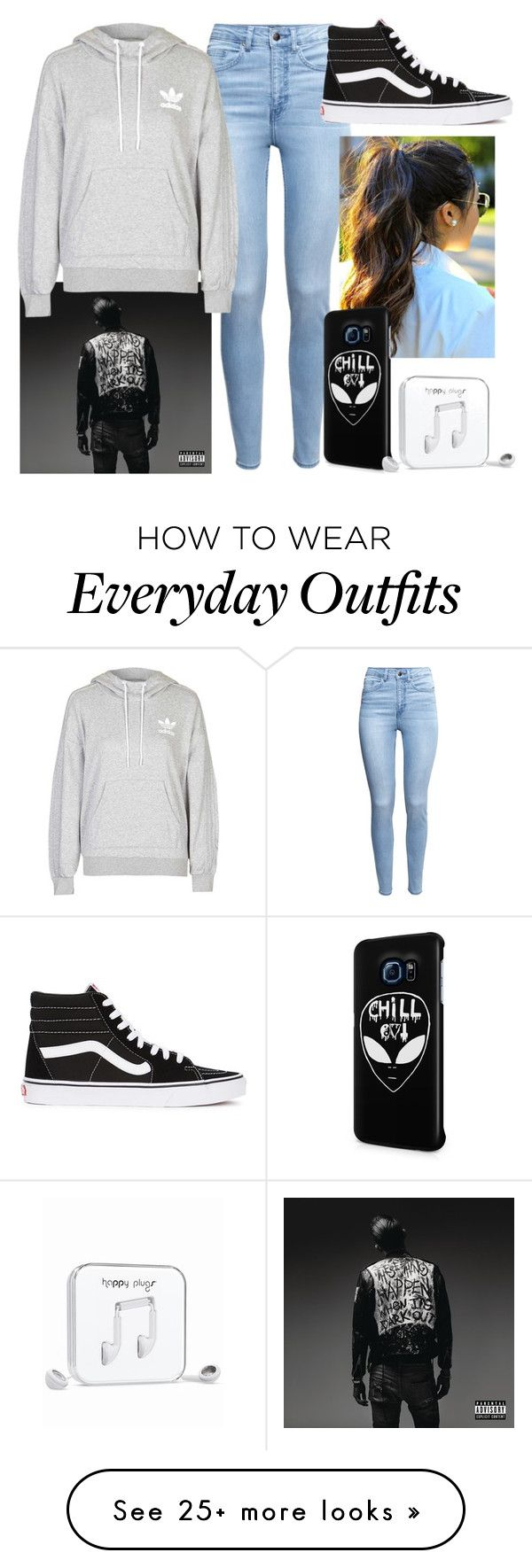 """""""My go to everyday outfit """" by sofiahernandez12 on Polyvore featuring H&M, adidas, Vans, Samsung, Happy Plugs, women's clothing, women's fashion, women, female and woman"""