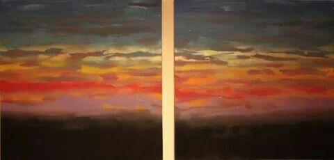 Unexpected fluorescent sunset Massimo Dell'Armi #pittoricontemporanei