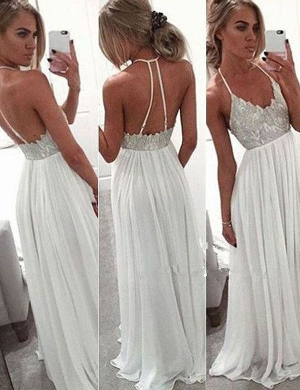 Sexy Halter Backless White Floor-length Chiffon Prom Dress With Sequins