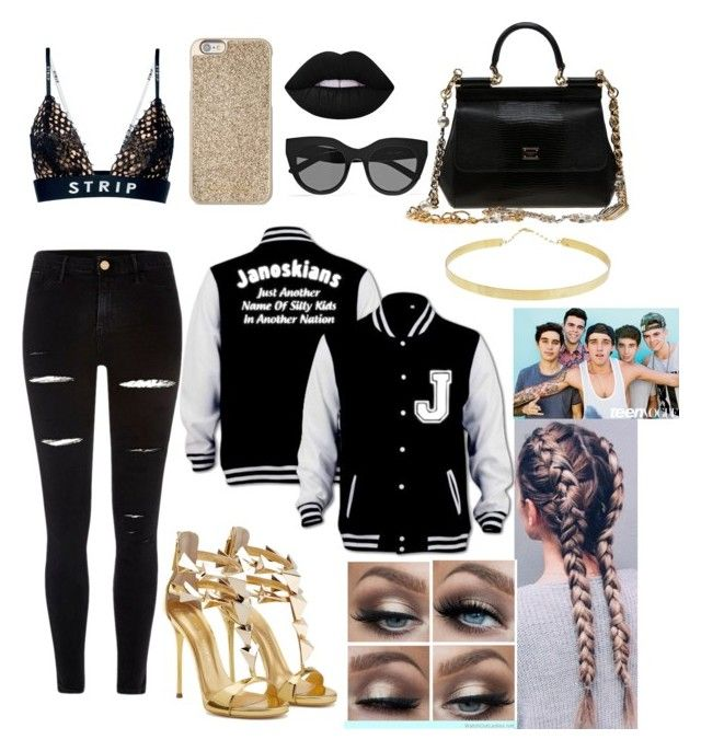 """Janoskians"" by emillie-butler ❤ liked on Polyvore featuring Alexander Wang, River Island, Le Specs, Lime Crime, Lana, Michael Kors and Dolce&Gabbana"