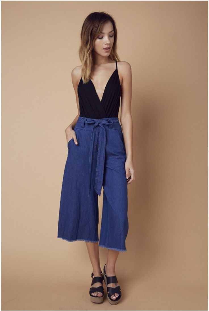 Denim culotte pants  #shopdearsociety