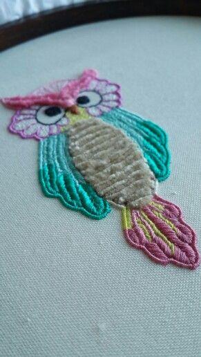 Embroidered owl necklace/ Nakışlı baykuş kolye