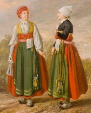 """1782. Detail of """"Farmer's wife and daughter in folk dress of Vingåker, Södermanland, Sweden."""" By Pehr Hilleström."""