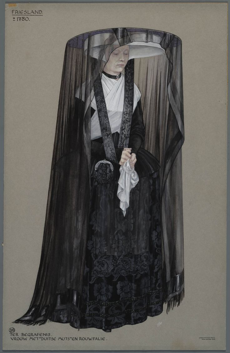 Friesland ca. 1870. Woman with 'German cap' dressed for a funeral. Drawing by Jan Duyvetter.