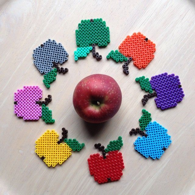 Colorful apples perler beads by 59astrid