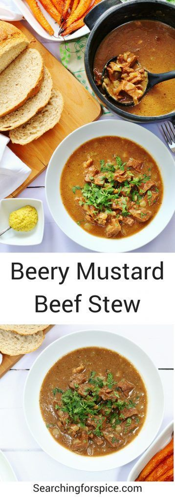 Mustard beery beef stew made with locally sourced ingredients. This slow cooked beef stew is good enough for a dinner party as well as a simple comfort food meal #beef #stew #onepot #dinnerparty #comfortfood #mustard #slowcooked