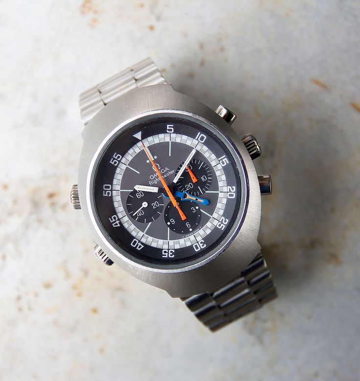 "A simply stunning example of the classic Omega Flightmaster from 1971. Original dials with ""T SWISS MADE T"" marked at the bottom. This is a hand-wound model, reference 145.036, and at its heart is the Omega calibre 911 chronograph movement. The elegant stainless steel case measures 42mm in diameter. Original Omega bracelet in excellent condition. The bracelet should fit up to a 7.5"" wrist. All functions work correctly and the … Read More →"