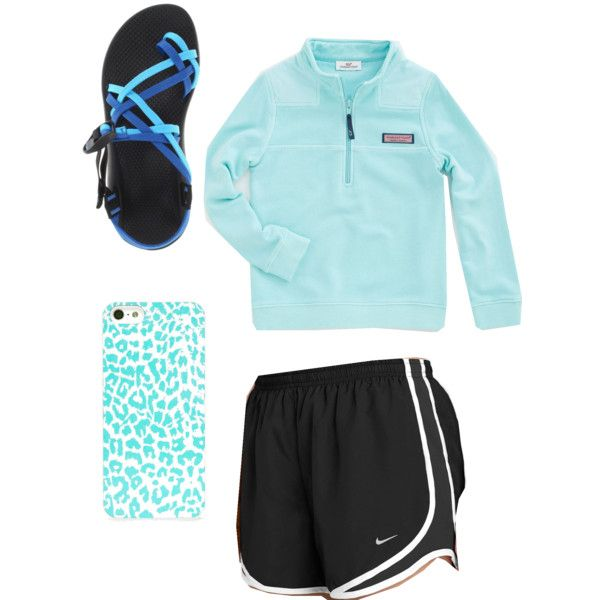 blue lazy school outfit. Vineyard vines pullover, nike shorts, and chacos