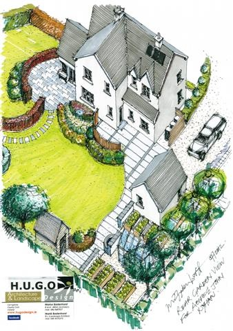 Rear garden design for existing dwelling near Riverview,Co.Cork by Hugodesign