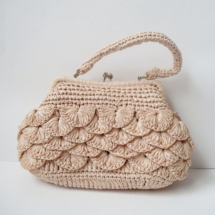 Vintage 1960s Mantessa Cream Raffia Crochet Frame Handbag Purse. Etsy
